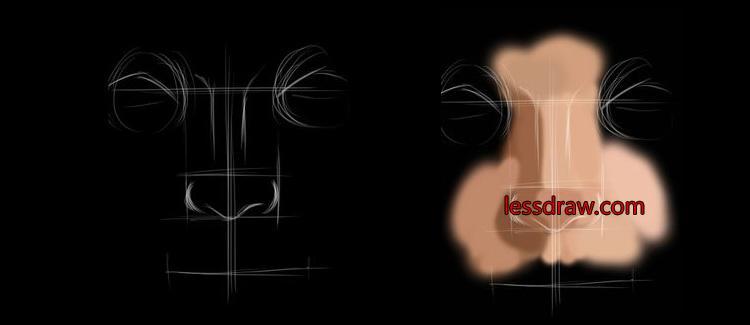 как рисовать нос человека в фотошопе