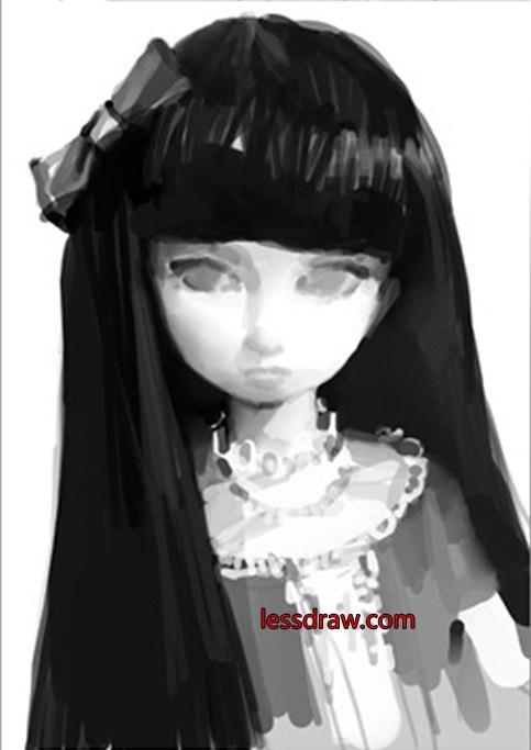 как нарисовать девочку куклу