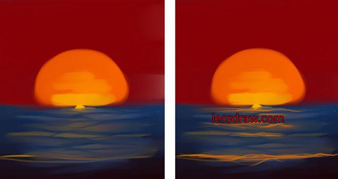 как нарисовать закат поэтапно