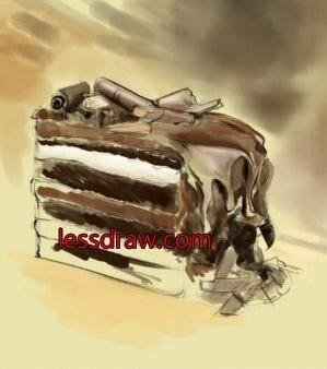 как нарисовать торт поэтапно