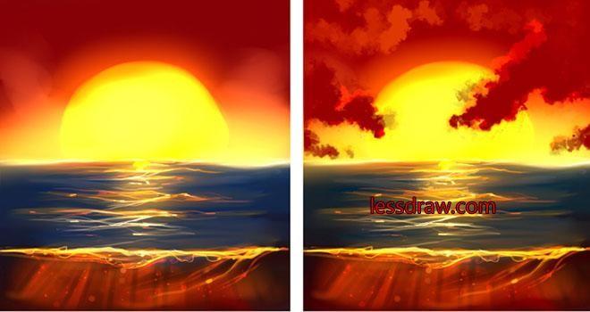 Як поетапно намалювати захід сонця