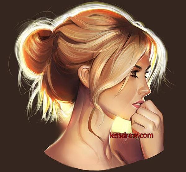 рисуем лицо девушки в профиль