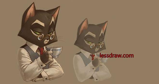 как нарисовать делового кота поэтапно