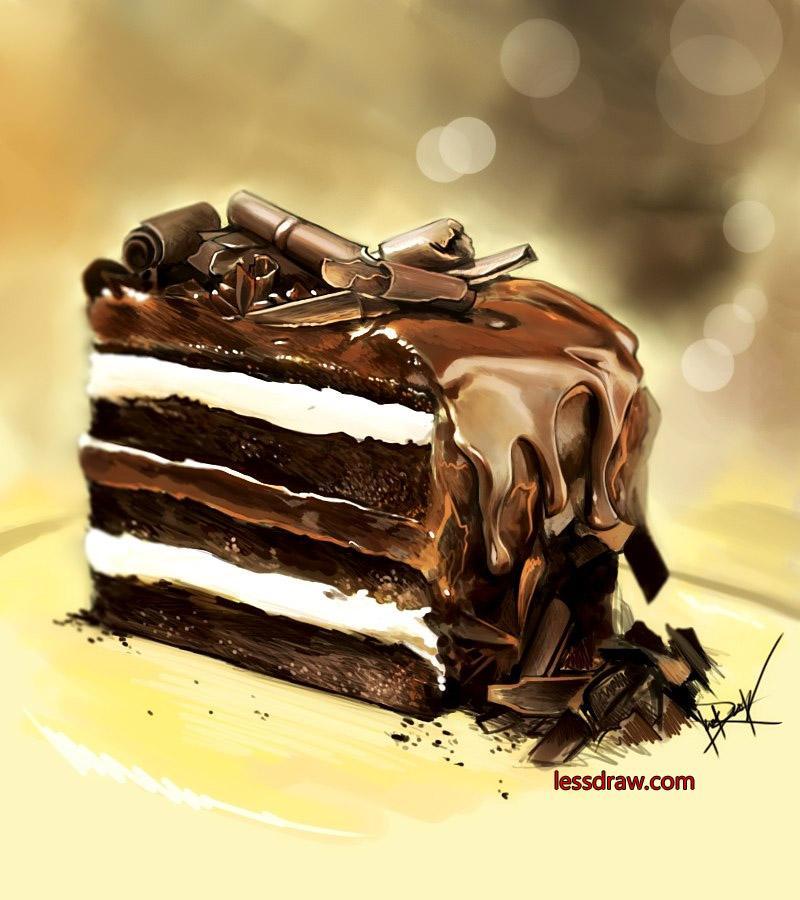 как нарисовать реалистичный торт