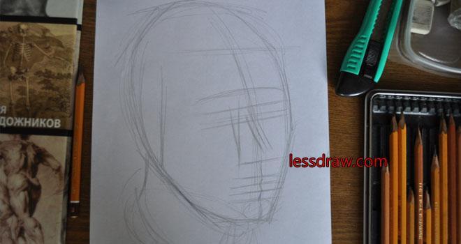 рисуем парня карандашом поэтапно
