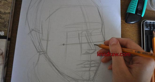 как правильно нарисовать мужское лицо