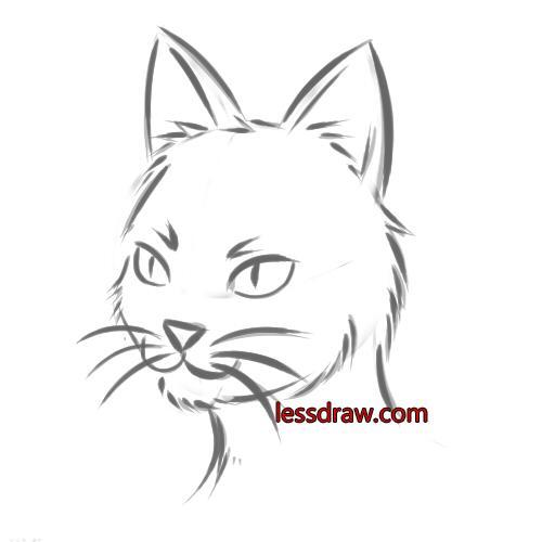 как нарисовать простую кошку