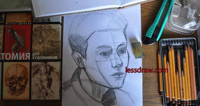 как нарисовать портрет карандашом мужчины