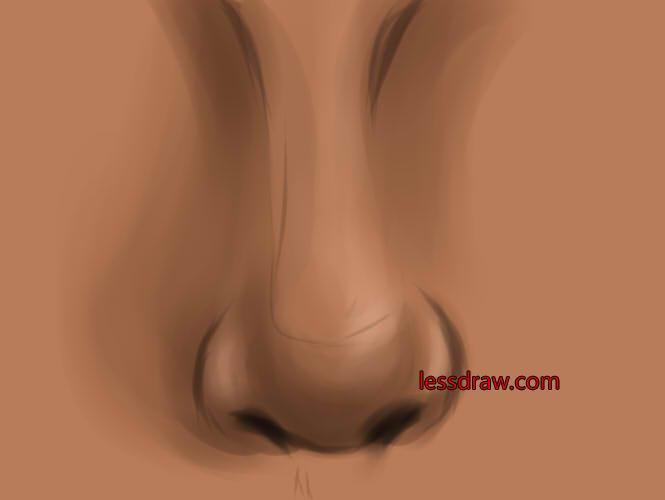 как поэтапно нарисовать нос шаг 10