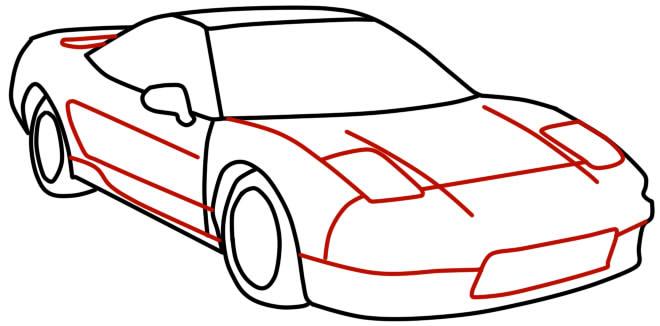 как нарисовать гоночную машину шаг 10