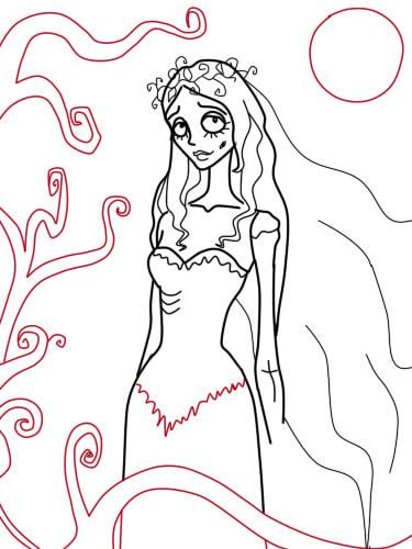 как нарисовать труп невесты шаг 11