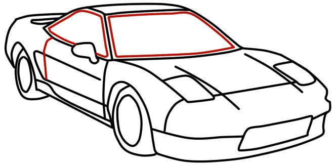 как нарисовать гоночную машину шаг 11