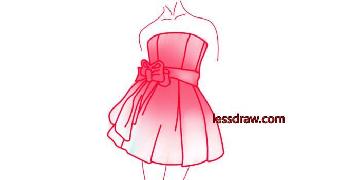Нарисовать поэтапно одно платья пышные