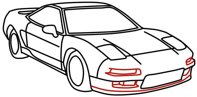 как нарисовать гоночную машину шаг 12