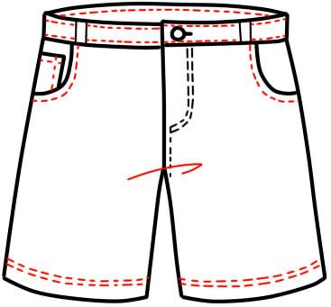как нарисовать шорты шаг 14