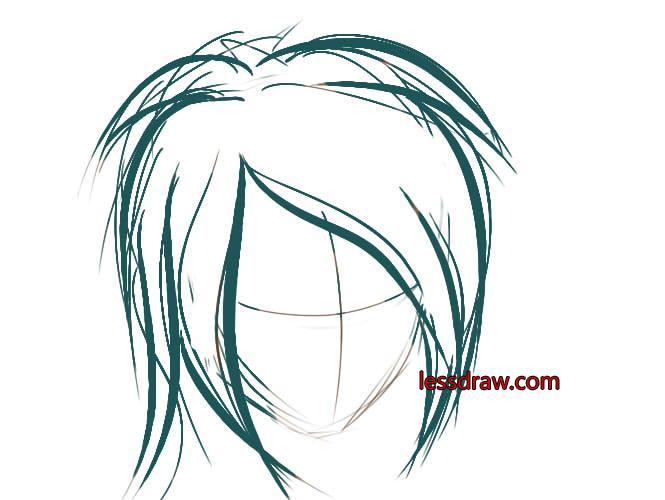 как рисовать в саи волосы шаг 1