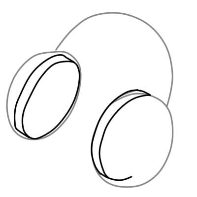 как нарисовать наушники шаг 2