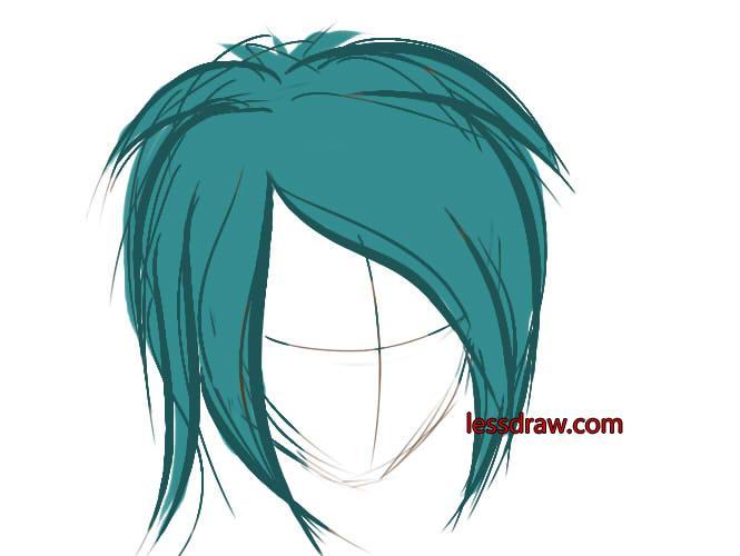 как рисовать в саи волосы шаг 2