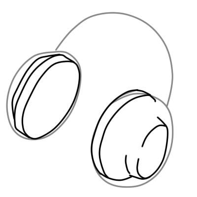 как нарисовать наушники шаг 3
