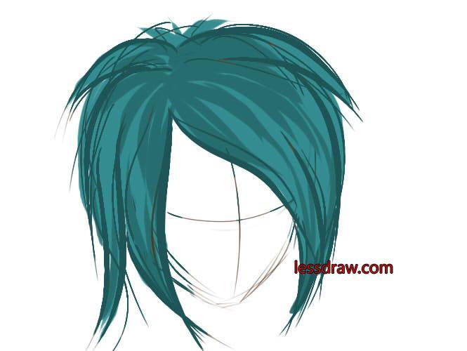 как рисовать в саи волосы шаг 3