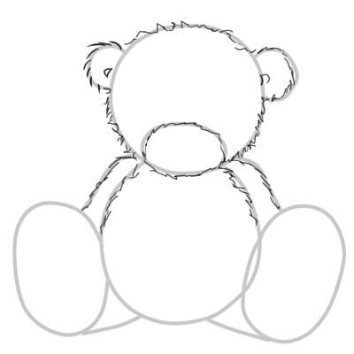 как нарисовать поэтапно мишку тедди шаг 3
