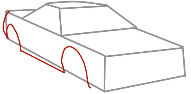 как нарисовать гоночную машину шаг 3