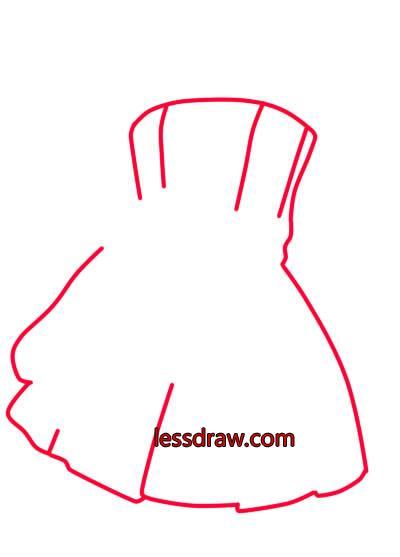 как нарисовать красивое платье шаг 3