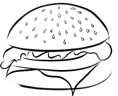 как нарисовать гамбургер шаг 4