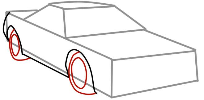 как нарисовать гоночную машину шаг 4