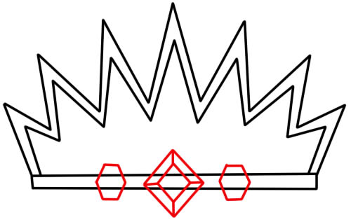 как нарисовать украшение корону 4