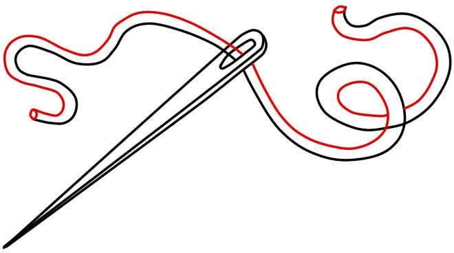 как нарисовать иголку шаг 4