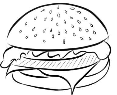 как нарисовать гамбургер шаг 5