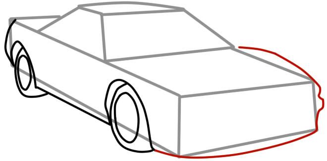 как нарисовать гоночную машину шаг 5