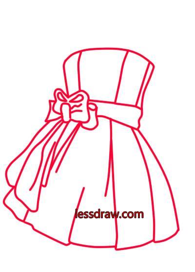 как нарисовать красивое платье шаг 5