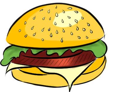 как нарисовать гамбургер шаг 6