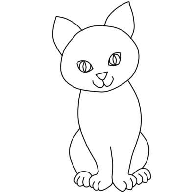 как нарисовать кошку поэтапно ребенку6