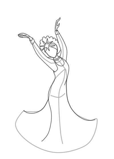 как нарисовать царевну лебедь шаг 6