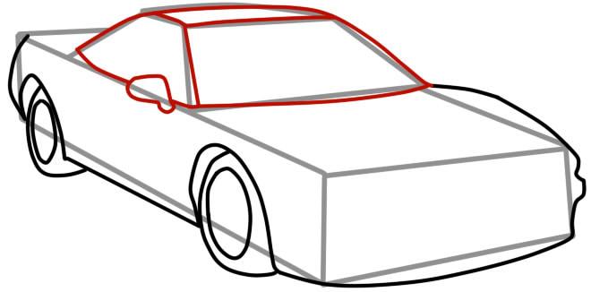 как нарисовать гоночную машину шаг 6