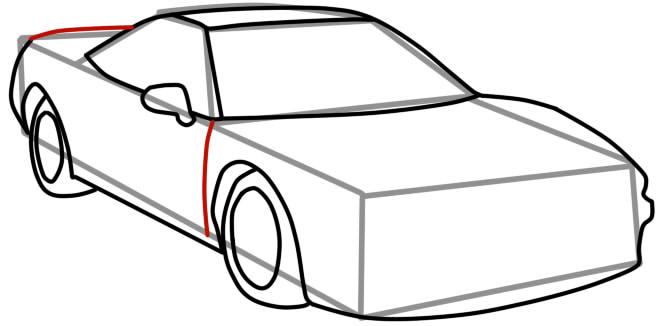 как нарисовать гоночную машину шаг 7