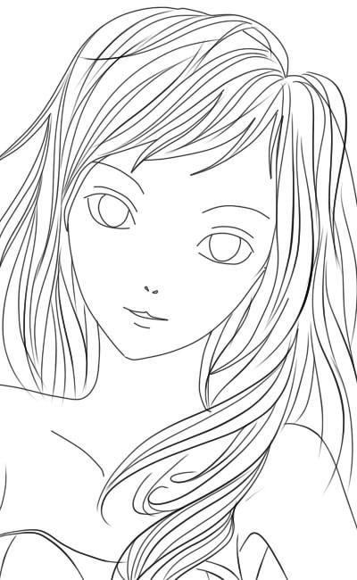 как нарисовать аниме девушку карандашом шаг 8