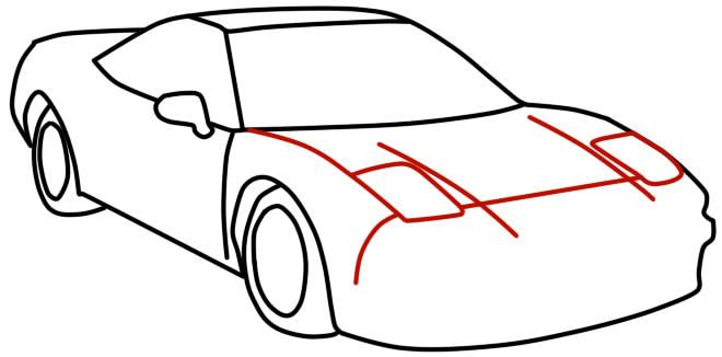 как нарисовать гоночную машину шаг 8