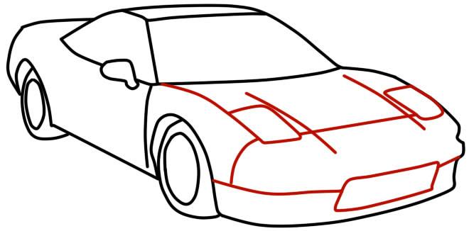 как нарисовать гоночную машину шаг 9