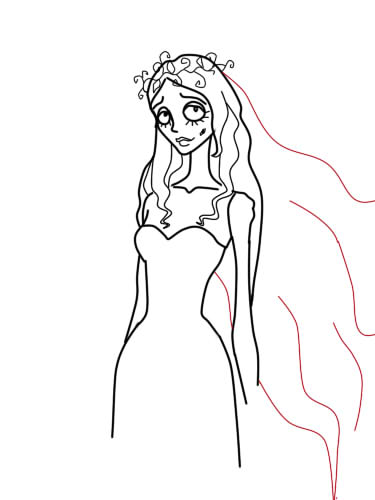 как нарисовать труп невесты шаг 9