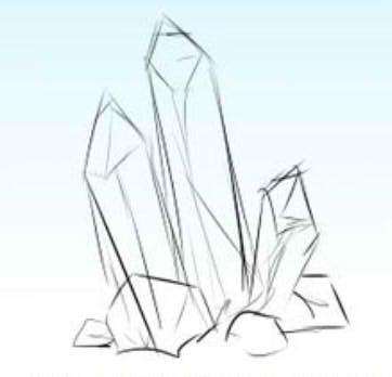 как нарисовать кристалл шаг 1