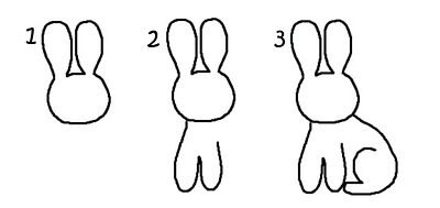 нарисовать зайчика с ребенком легко этап 1