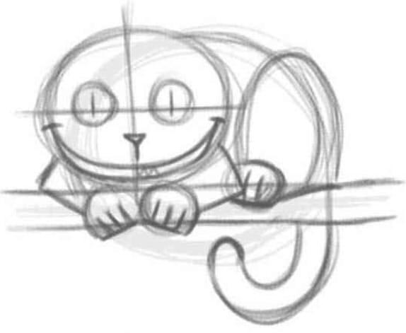 как нарисовать чеширского кота шаг 3