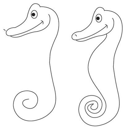 как нарисовать морского конька шаг 3