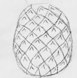 как нарисовать ананас шаг 3