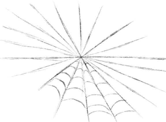 как нарисовать паутину шаг 3