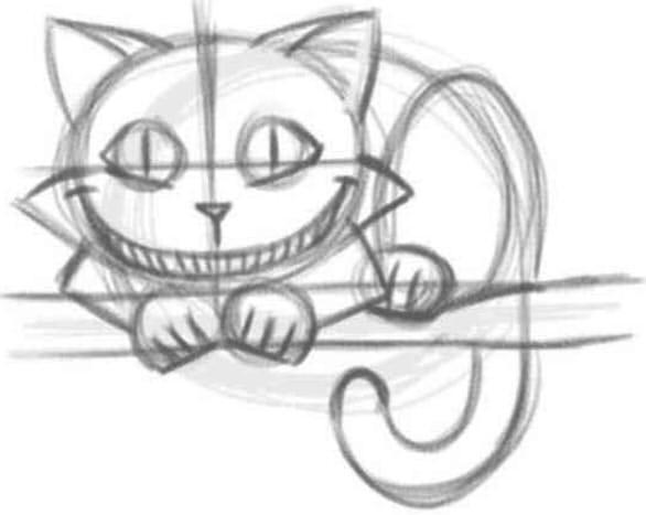 как нарисовать чеширского кота шаг 4